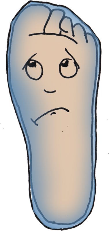 drawing of a foot with a sock that doesn't fit and a sad face