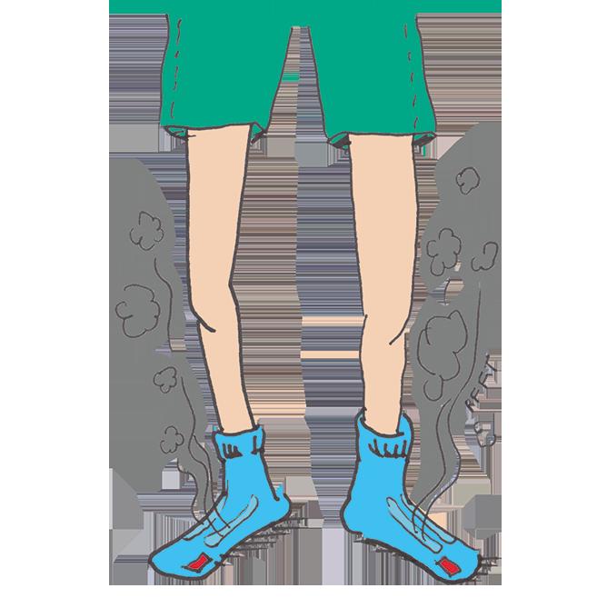 Illustration von dampfenden Füßen