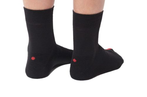 plus12socks black socks for adults back view