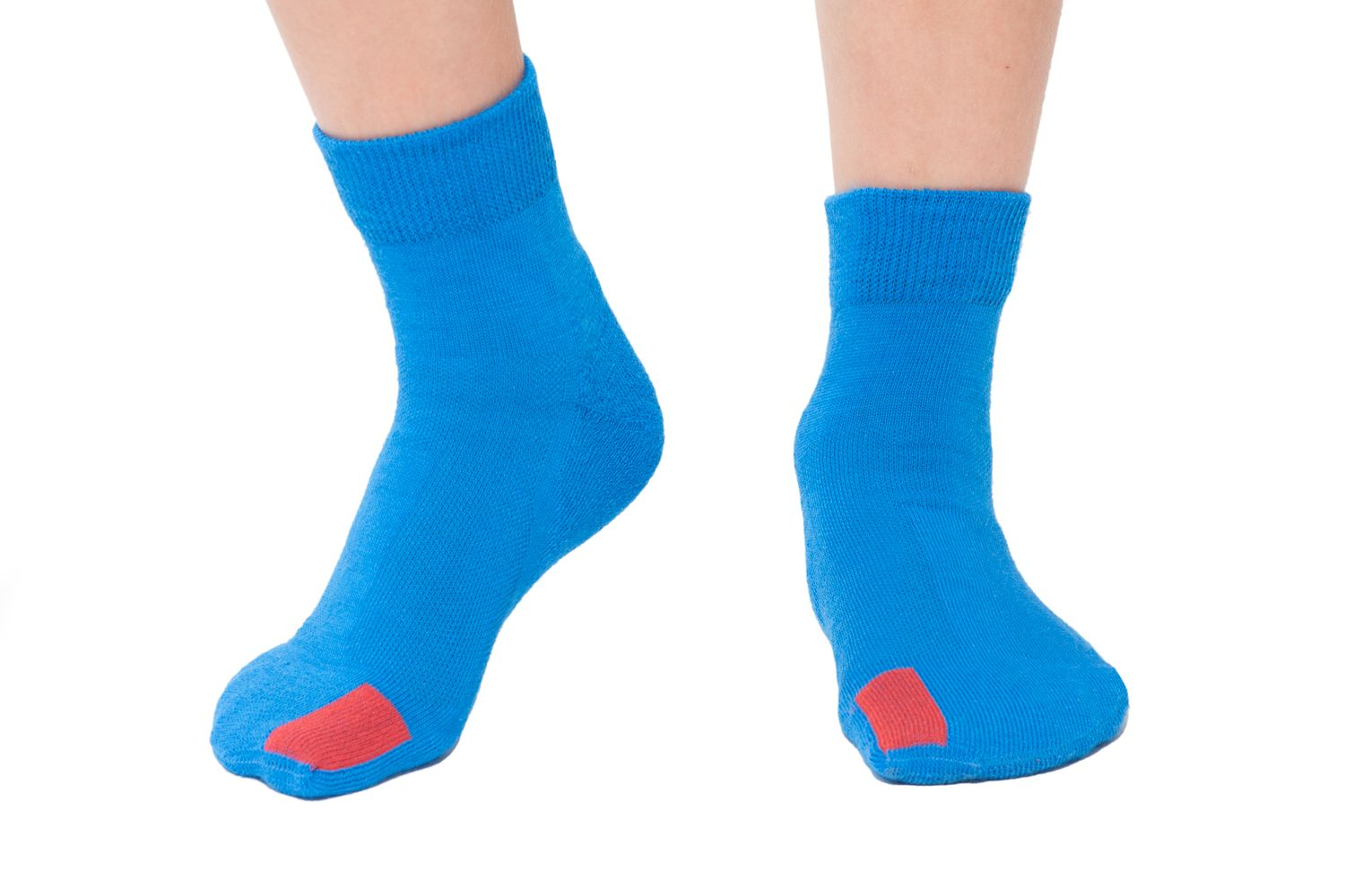 plus12socks kids feet wearing blue socks front view